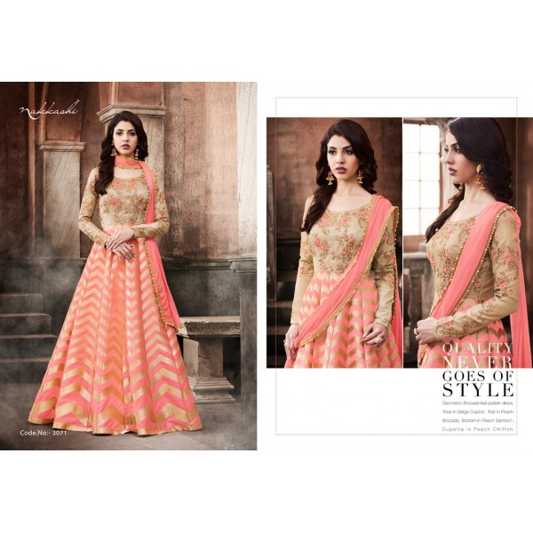 Pretty Peach Long Anarkali Dress with gorgeous Embroidery-3071
