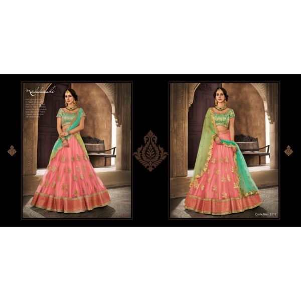 Peach and Rama Green Designer Lehanga Choli with Gold Embroidery