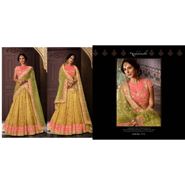 Yellow Lacy Lehanga with Embroidery with Contrast Blouse and Dupatta