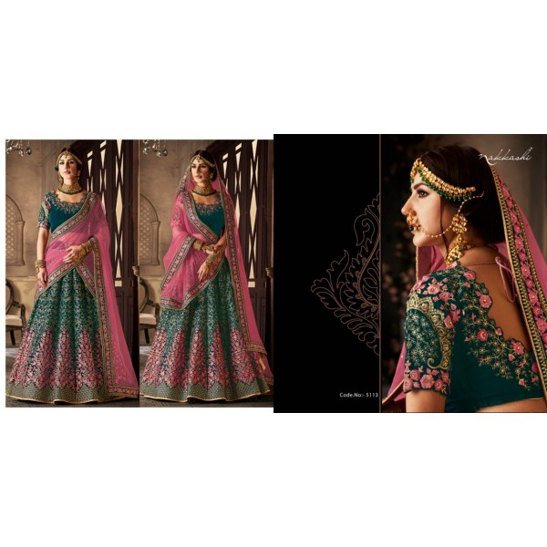 Pretty Green and Pink Velvet Lehanga and Velvet Blouse piece with Contrast Dupatta