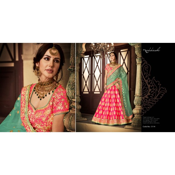Pink Silk Embroidered Lehanga and Pink Silk Embroidered Blouse Piece with Contrast Dupatta