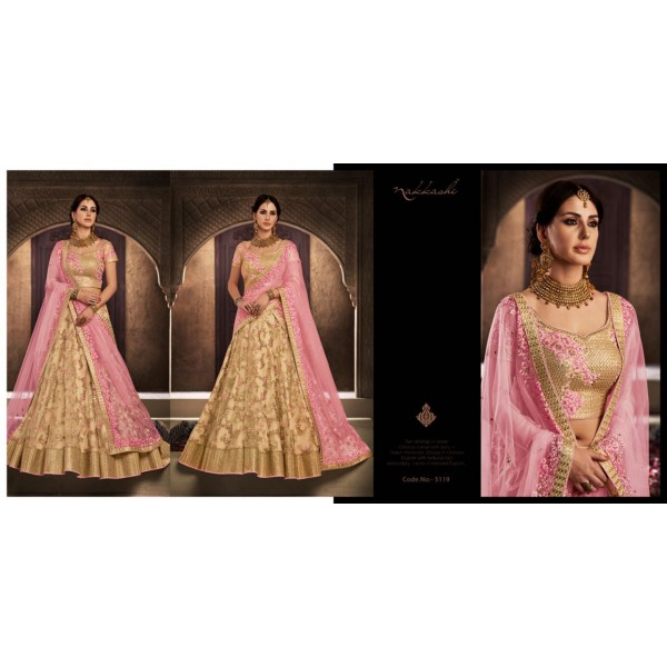 Beige Lacy Lehanga Choli with Embroidery and Contrast Dupatta
