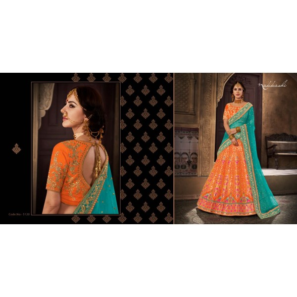 Orange Brocade Designer Lehanga with Silk Embroidered Blouse Piece with Contrast Net Dupatta