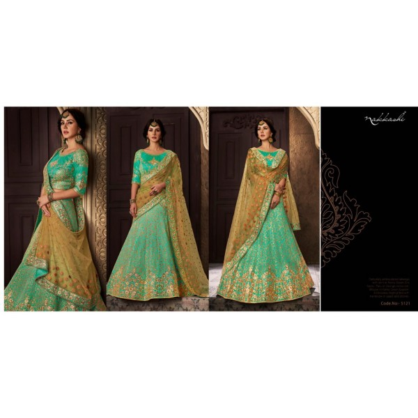 Green Silk Embroidered Lehanga with Silk Embroidered Blouse Piece with Contrast Dupatta
