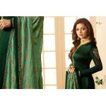 Dark Green Georgette Salwar Kameez with Floral Embroidery