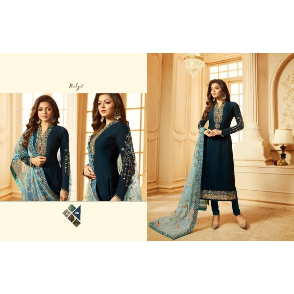 Dark Blue Beautiful Georgette Party wear Salwar Kameez