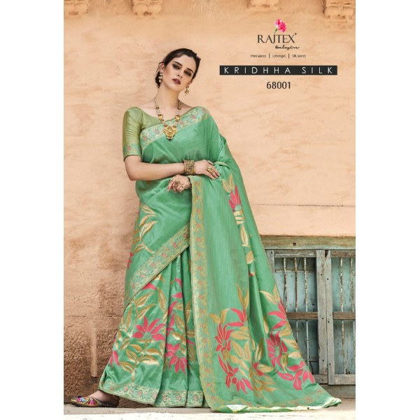 Green Stylish Party wear Silk Saree with Embroidery
