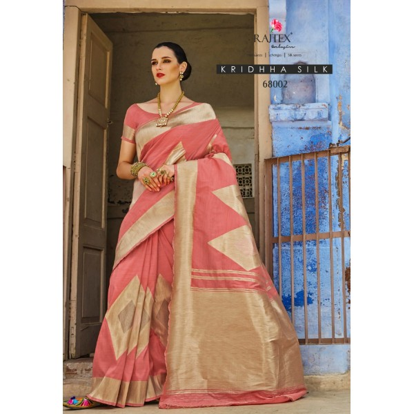 Pink Party wear Silk Saree with Golden Embroidery