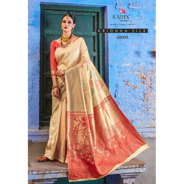 Cream Golden Party wear Silk Saree with Embroidery