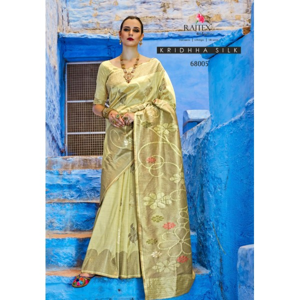 Green Party wear Silk Saree with Floral Embroidery