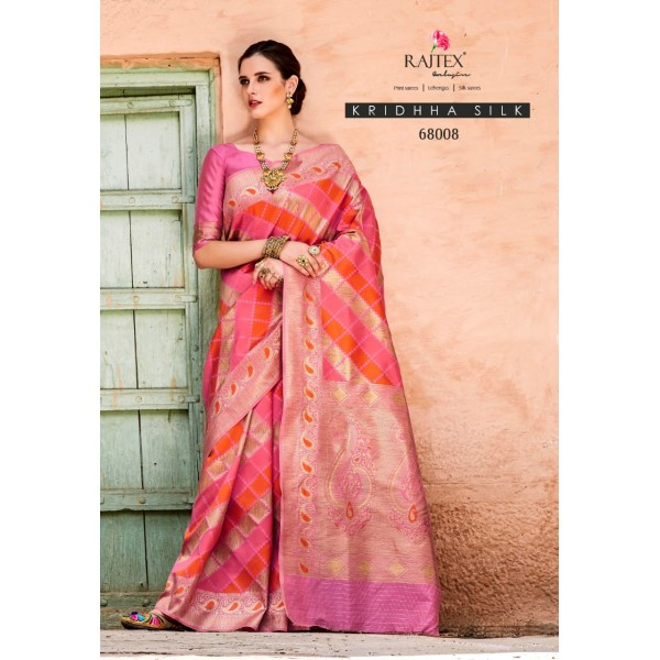 Gorgeous Pink Party wear Silk Saree with Heavy Embroidery