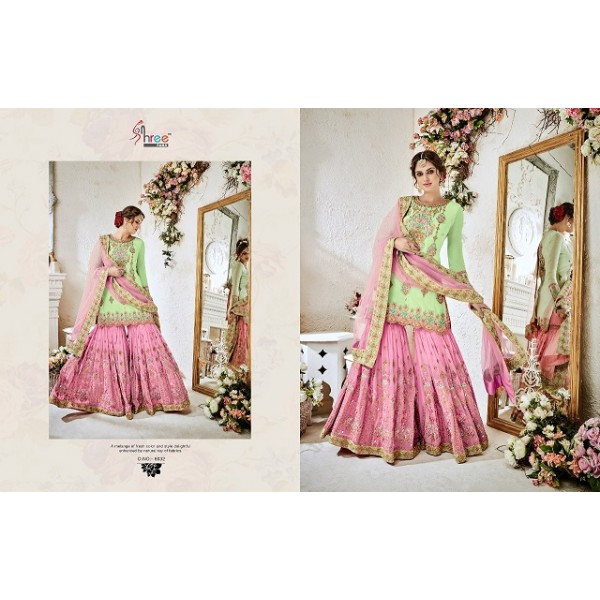 Green and Pink Georgette Party wear Sharara Set with Heavy Embroidery