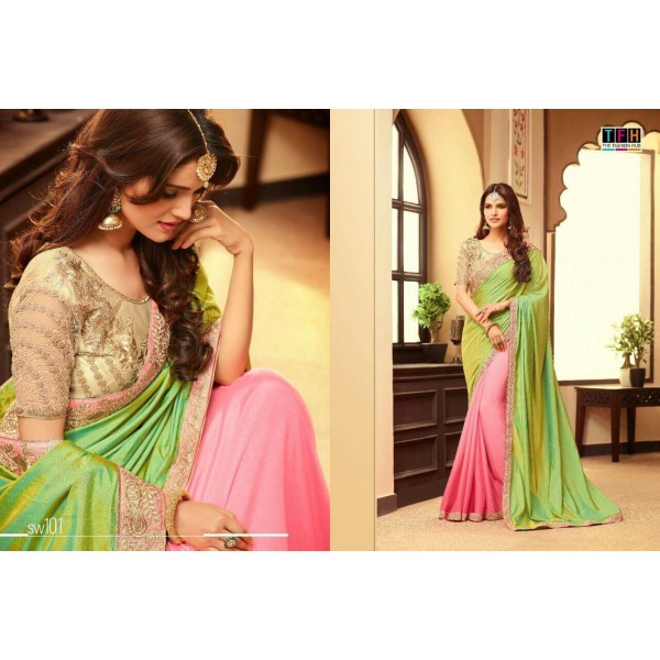 Pink and Green Georgette Saree with Gold Beige Bouse-SW101