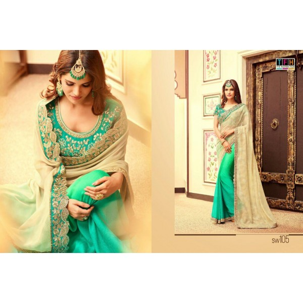 Green and Beige Georgette Designer Saree-SW105