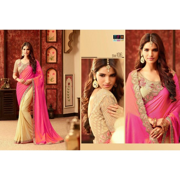 Pink and Beige Gold Stylish Designer Saree-SW106
