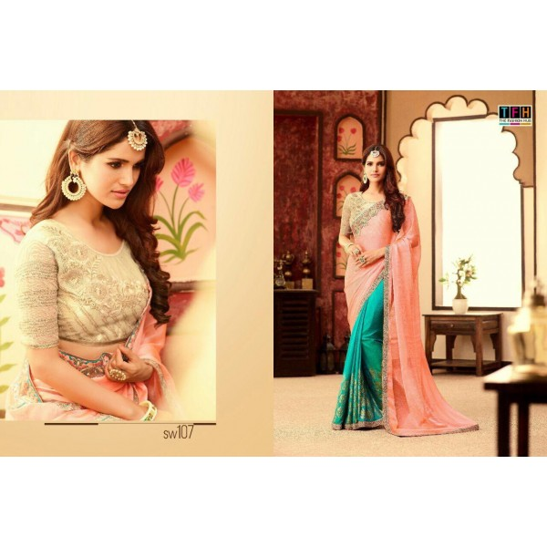 Pink and Blue Saree with Gold Beige Embroidered Blouse piece-SW107