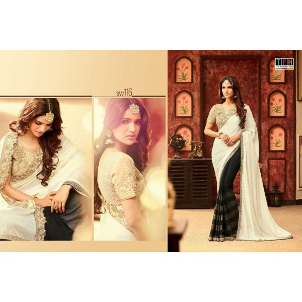 Black and White Stunning Contrast Saree-SW116
