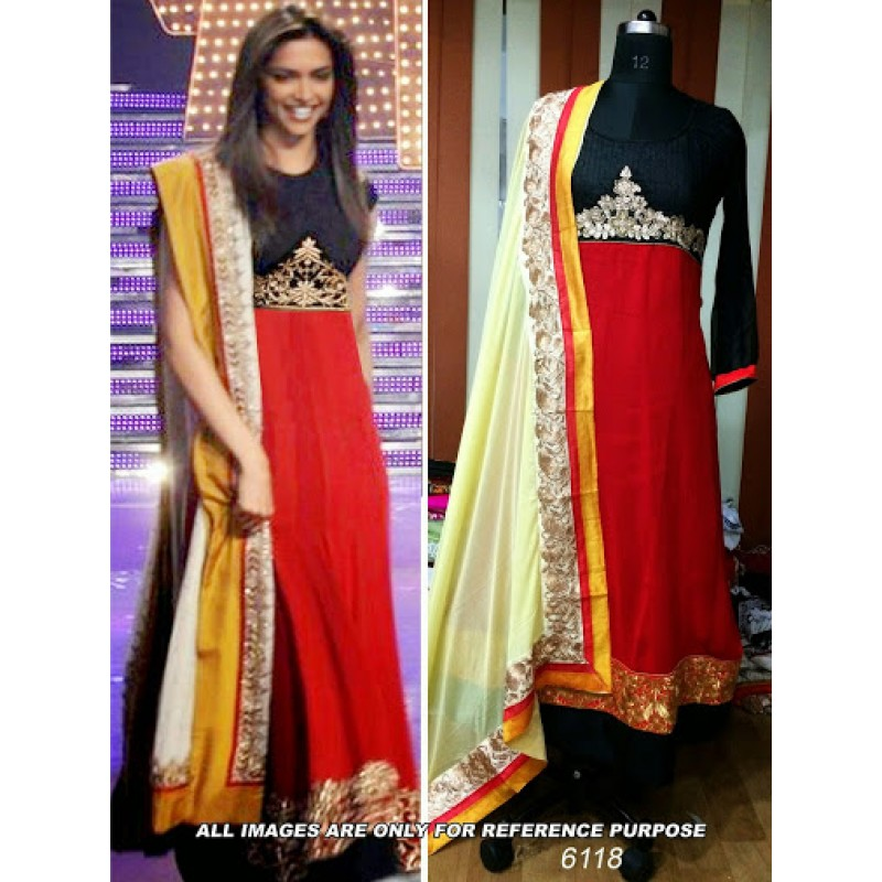 Deepika padukone red bollywood replica designer suit for Luxury online shopping
