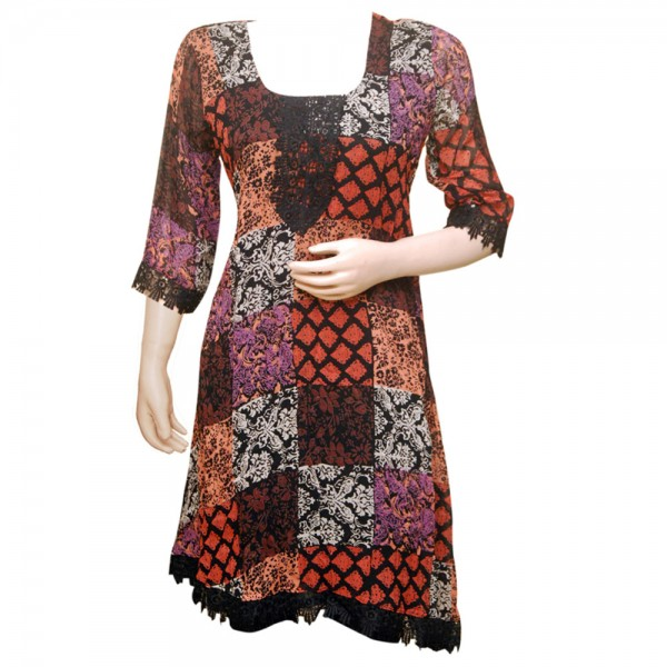 Fashionpur Georgette Printed Black Stylish Kurti with Lacy Borders