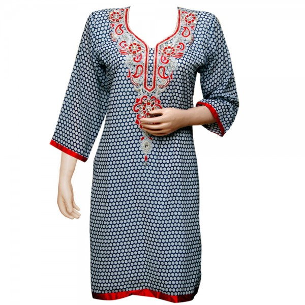 Fashionpur Georgette Heavy Pearl Neck Embroidered White-Blue Designer Kurti