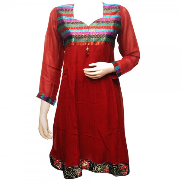 Fashionpur Georgette Stylish Maroon Anarkali Kurti with Lining