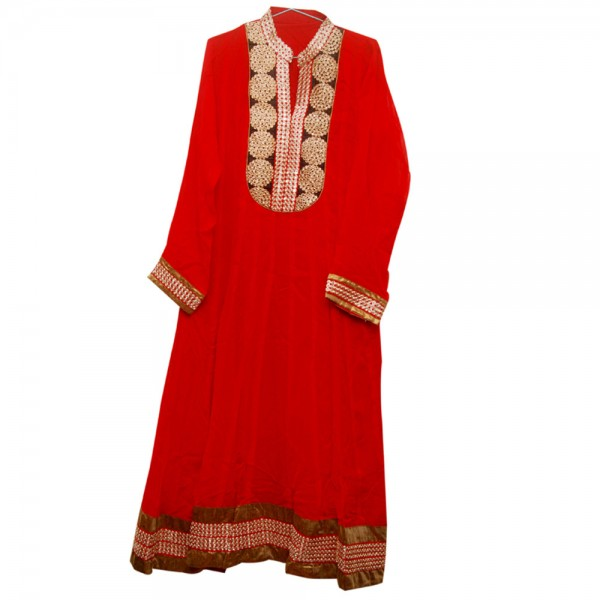 Fashionpur Georgette Red Long Anarkali Exclusive Designer Party Kurti with Zari Embroidery