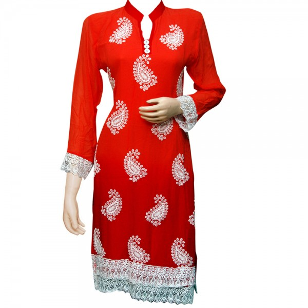 Fashionpur-Georgette-Orange-and-Red-Exclusive-Designer-Long-Embroidered-Kurti